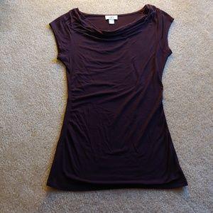 Ann Taylor LOFT plum purple cowl/swoop neck top